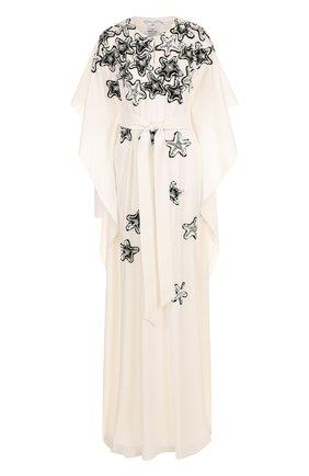 Шелковое платье-макси свободного кроя с пайетками | Фото №1