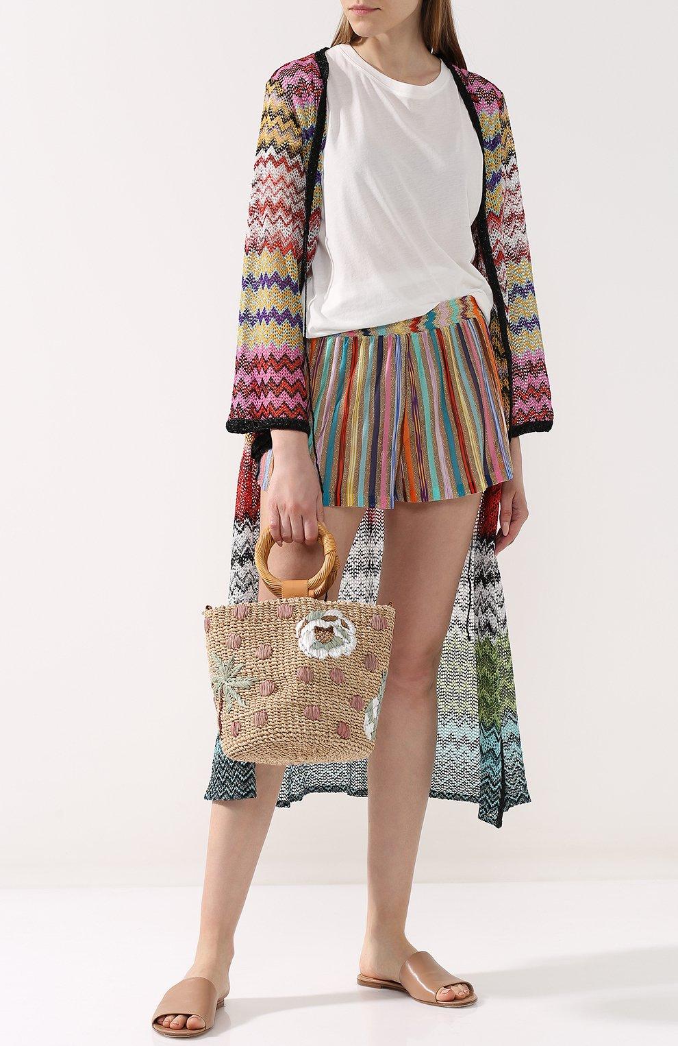 Женские разноцветные мини-шорты с эластичным поясом Missoni