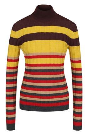 Шерстяной облегающий пуловер в полоску Marni бордовый | Фото №1