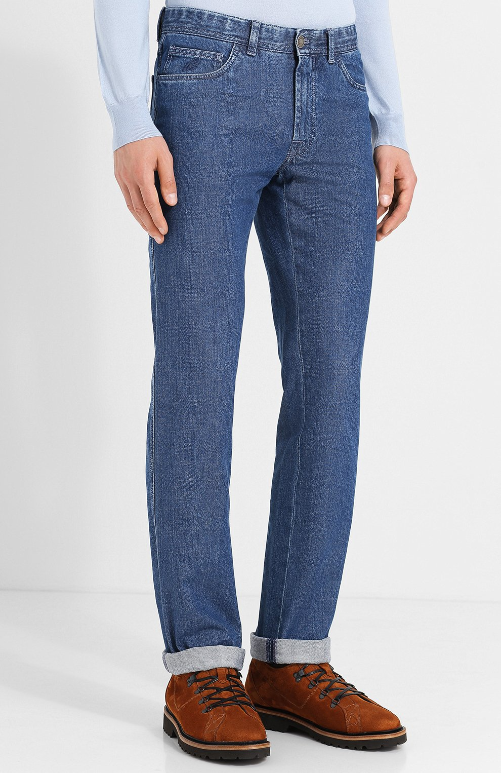 Мужские джинсы прямого кроя BRIONI синего цвета, арт. SPLE0L/07D13/CHAM0NIX | Фото 3