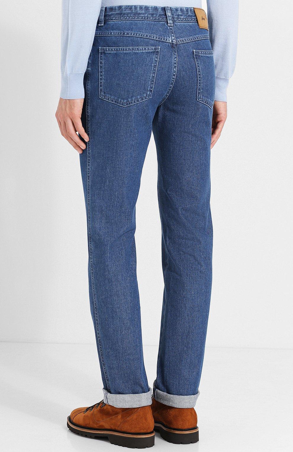 Мужские джинсы прямого кроя BRIONI синего цвета, арт. SPLE0L/07D13/CHAM0NIX | Фото 4