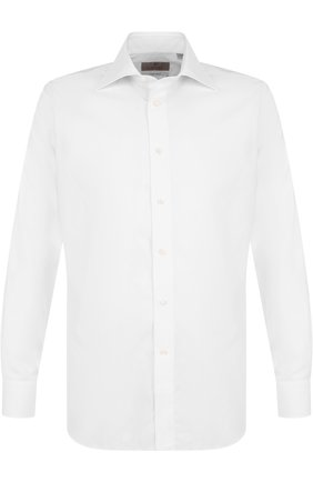 Хлопковая сорочка с воротником кент Canali белая | Фото №1