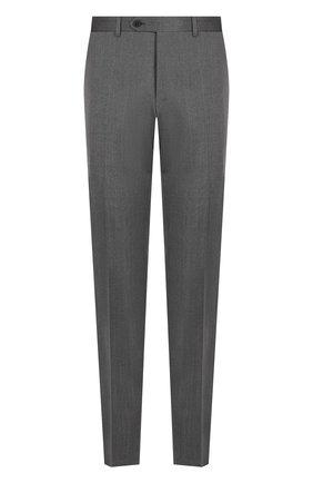 Шерстяные брюки прямого кроя Canali темно-серые | Фото №1