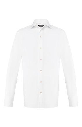 Мужская хлопковая сорочка с воротником кент TOM FORD белого цвета, арт. 4FT000/94S3AX | Фото 1