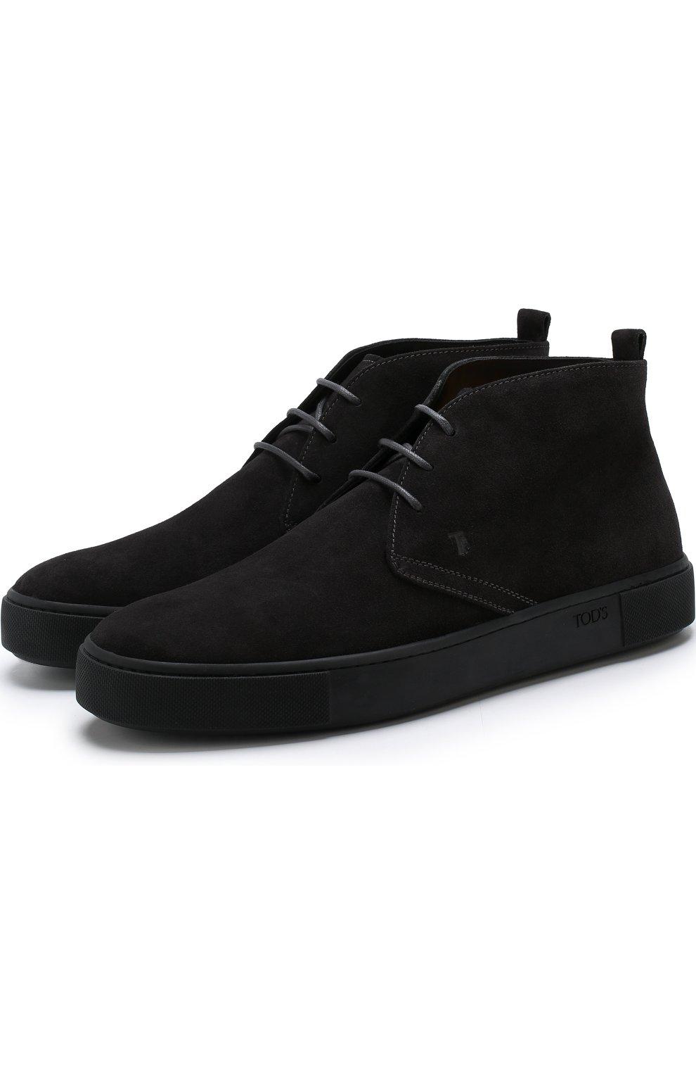 Высокие замшевые ботинки на шнуровке   Фото №1