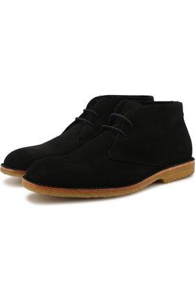 Замшевые ботинки на шнуровке с внутренней меховой отделкой Brioni черные | Фото №1