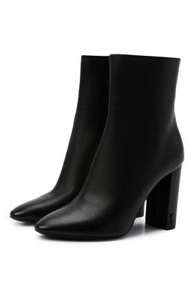 Женские кожаные ботильоны lou на устойчивом каблуке SAINT LAURENT черного цвета, арт. 527418/0RRVV | Фото 1