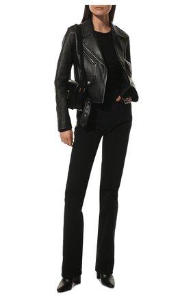 Женские кожаные ботильоны lou на устойчивом каблуке SAINT LAURENT черного цвета, арт. 527418/0RRVV | Фото 2