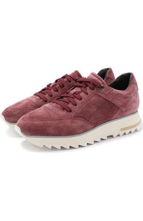 Замшевые кроссовки на шнуровке Santoni светло-розовые | Фото №1