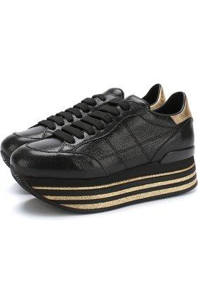 Кожаные кросcовки Maxi на платформе | Фото №1