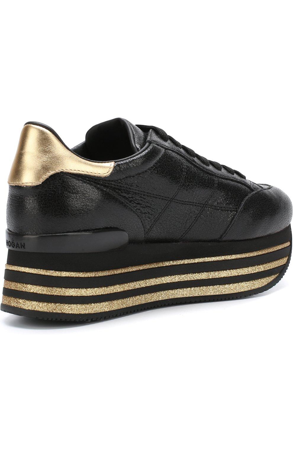 Кожаные кросcовки Maxi на платформе | Фото №4