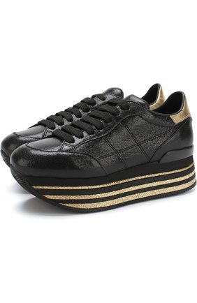 Кожаные кросcовки Maxi на платформе Hogan черные | Фото №1