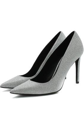 Кожаные туфли с глиттером на шпильке | Фото №1
