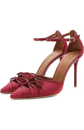 Текстильные туфли Josephine на шпильке Malone Souliers бордовые | Фото №1