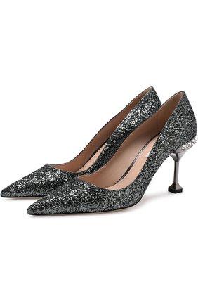 Туфли с глиттером на декорированном каблуке  Miu Miu серебряные | Фото №1