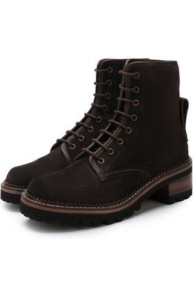 Высокие комбинированные ботинки на устойчивом каблуке See by Chloé темно-серые   Фото №1
