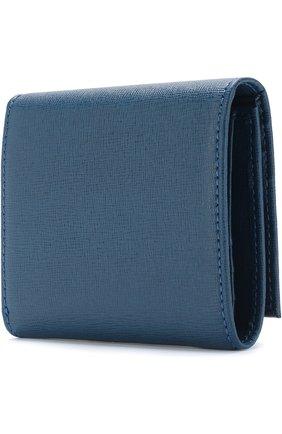 Кожаный кошелек на кнопке Coccinelle синего цвета | Фото №1