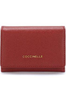 Кожаный футляр с клапаном Coccinelle бордового цвета | Фото №1