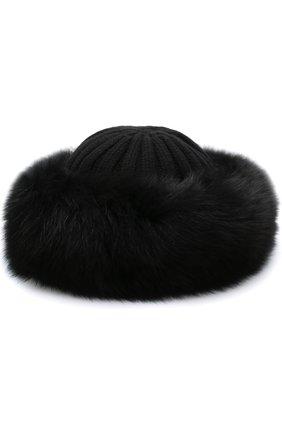 Шапка фактурной вязки с меховой отделкой Nima черного цвета | Фото №1