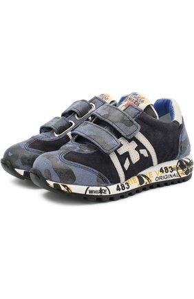 Замшевые кроссовки с застежками велькро | Фото №1