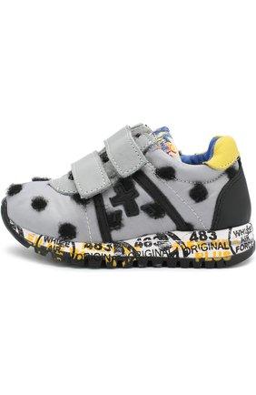 Детские текстильные кроссовки с кожаной отделкой и застежками велькро Premiata will be серого цвета | Фото №1