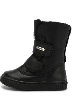Детские кожаные ботинки с застежками велькро Missouri черного цвета | Фото №1