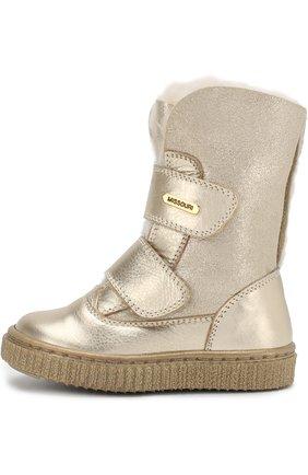 Детские утепленные кожаные ботинки с металлизированной отделкой Missouri золотого цвета | Фото №1