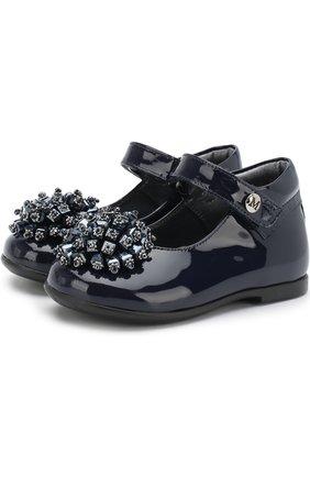 Детские кожаные туфли на ремешке с декором из бусин Missouri синего цвета | Фото №1