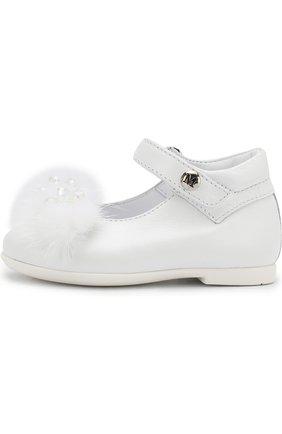 Детские кожаные туфли на ремешке с декором Missouri белого цвета | Фото №1