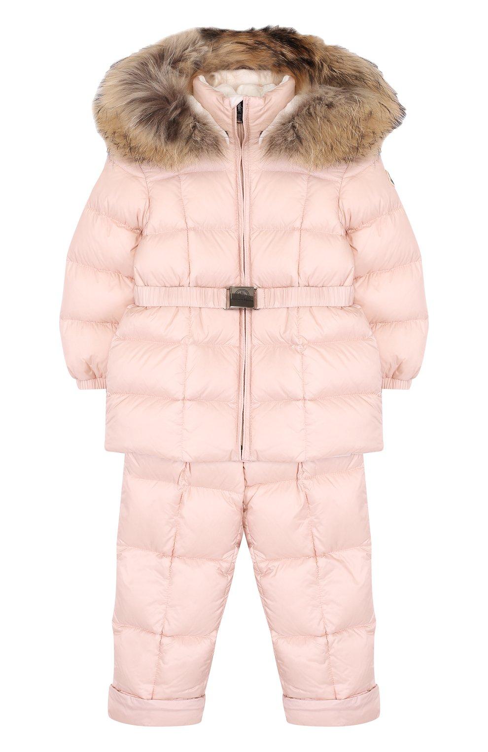 Детский комплект из пуховой куртки и комбинезона на подтяжках MONCLER ENFANT светло-розового цвета, арт. D2-951-70336-25-53048 | Фото 1