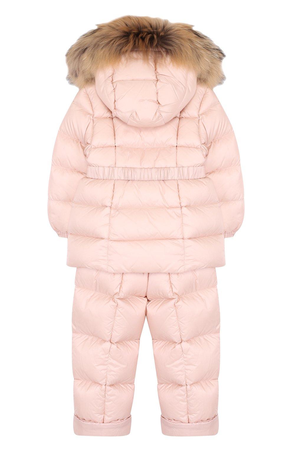 Детский комплект из пуховой куртки и комбинезона на подтяжках MONCLER ENFANT светло-розового цвета, арт. D2-951-70336-25-53048 | Фото 2