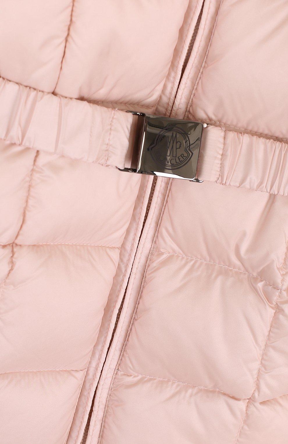 Детский комплект из пуховой куртки и комбинезона на подтяжках MONCLER ENFANT светло-розового цвета, арт. D2-951-70336-25-53048 | Фото 4