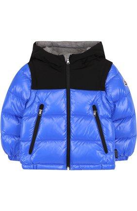 Детского пуховая куртка на молнии с капюшоном MONCLER ENFANT синего цвета, арт. D2-951-41875-85-68950 | Фото 1