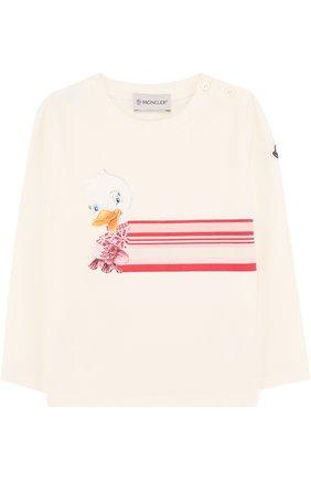 Детский хлопковый лонгслив с принтом MONCLER ENFANT белого цвета, арт. D2-951-80678-50-87275 | Фото 1