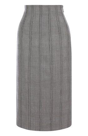 Шерстяная юбка-миди со шнуровкой в клетку | Фото №1