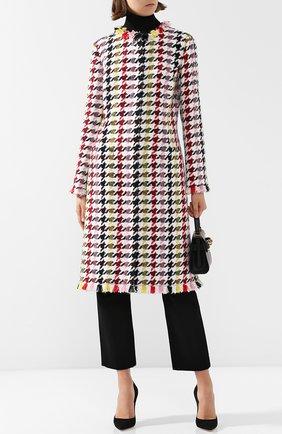Вязаное пальто с круглым вырезом и бахромой Oscar de la Renta разноцветного цвета | Фото №1