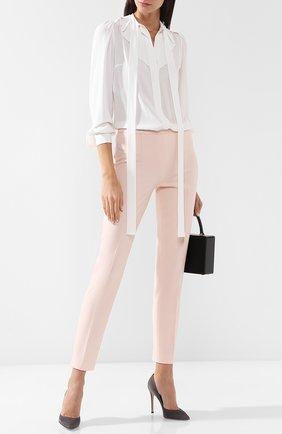 Укороченные шерстяные брюки со стрелками Michael Kors Collection розовые | Фото №1