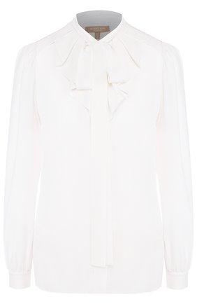 Женская однотонная шелковая блуза с воротником аскот Michael Kors Collection, цвет белый, арт. MKPL313A/KL052 в ЦУМ | Фото №1