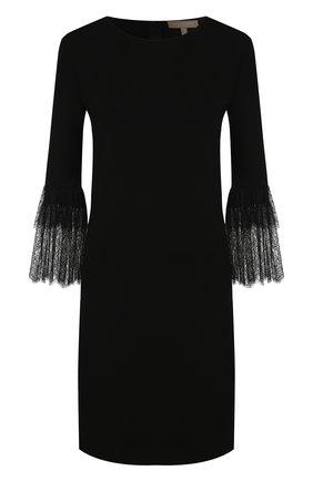 Однотонное мини-платье с кружевной отделкой на рукаве Michael Kors Collection черное | Фото №1