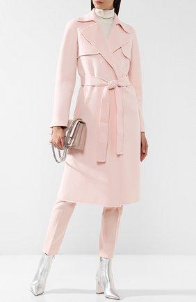 Однотонное шерстяное пальто с поясом Michael Kors Collection розового цвета | Фото №1