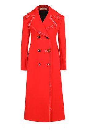 Однотонное пальто с контрастной прострочкой Marni красного цвета | Фото №1