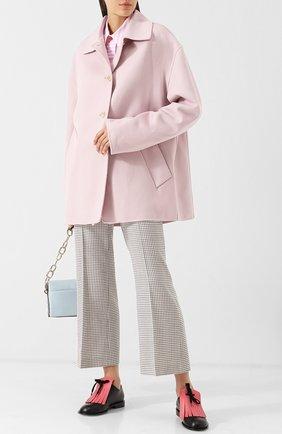 Однотонное пальто из смеси шерсти и кашемира со спущенным рукавом Marni светло-розового цвета | Фото №1