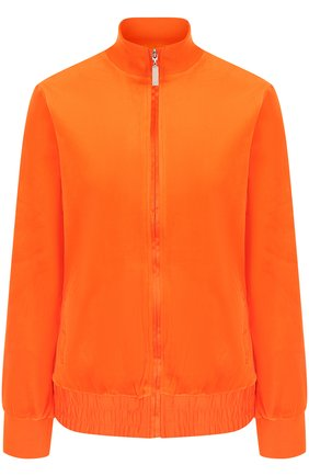 Однотонный хлопковый кардиган с воротником-стойкой Escada Sport оранжевый | Фото №1