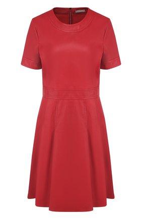 Кожаное мини-платье с круглым вырезом Bottega Veneta красное | Фото №1