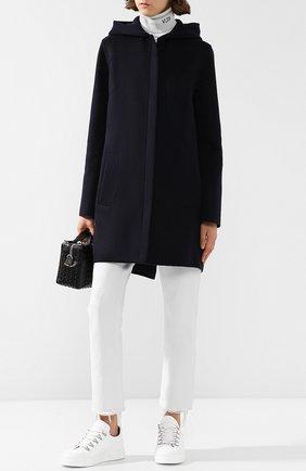 Однотонное кашемировое пальто с капюшоном Colombo темно-синего цвета | Фото №1