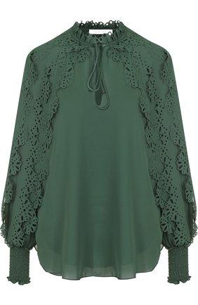 Женская однотонная блуза с оборками и воротником-стойкой See by Chloé, цвет зеленый, арт. CHS18AHT13024 в ЦУМ   Фото №1