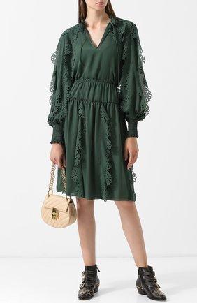 Однотонная юбка с эластичным поясом и оборками See by Chloé зеленая   Фото №1