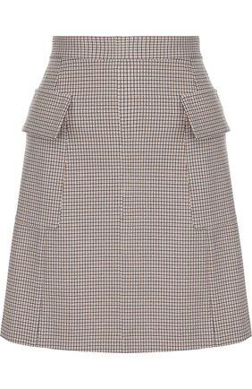 Мини-юбка А-силуэта с накладными карманами See by Chloé светло-коричневая   Фото №1