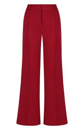 Хлопковые расклешенные брюки со стрелками See by Chloé красные   Фото №1