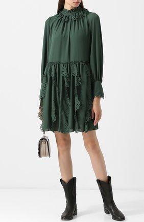 Однотонное мини-платье с оборками и воротником-стойкой See by Chloé зеленое   Фото №1